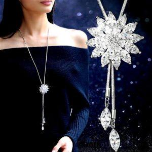 White Crystal Sunflower Tassel Long Necklace