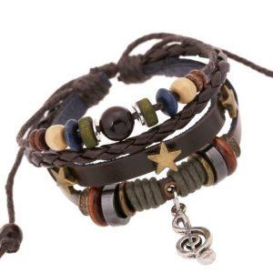 Leather Braided Wrist Band Bracelets