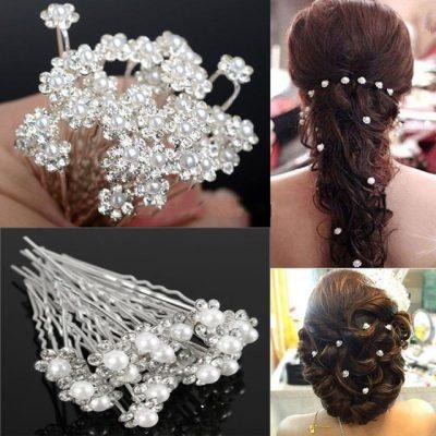 20Pcs-Fashion Crystal Pearl Wedding Hair Pins