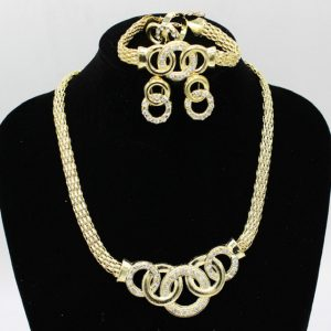 Maxi Chain Collars Choker Statement-Necklace Earring Bracelets Ring Jewelry Sets