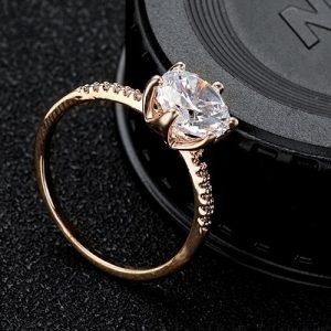 7KM Rose Gold Color Crystal Ring