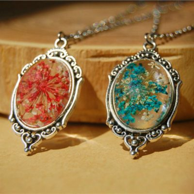 Handmade Natural Flowers Ccabochon Glass Silver chain pendant