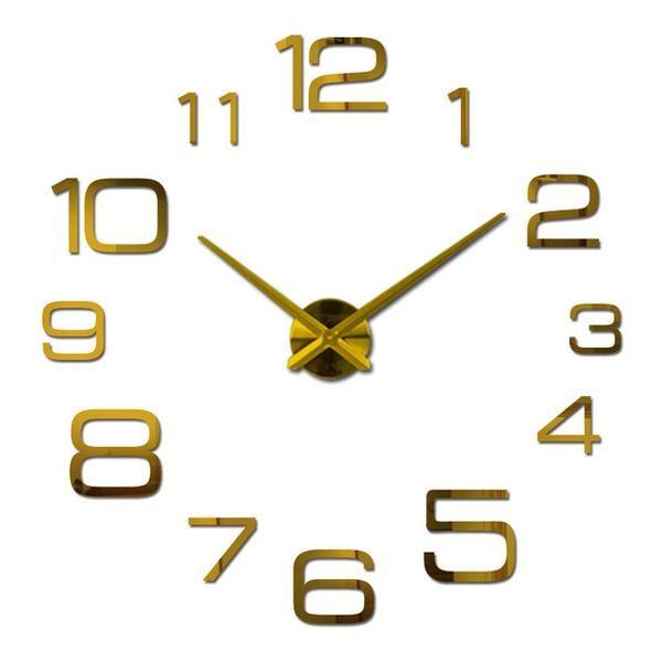 Wall Clock Acrylic Mirror Clocks Europe Diy 3d